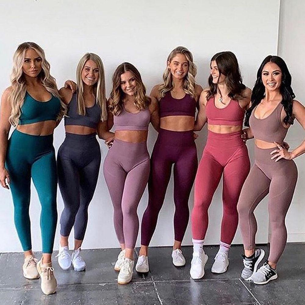 Seamless Leggings Bra Yoga Set 2PCS Women Sport Gym Workout Push Up Fitness Suit