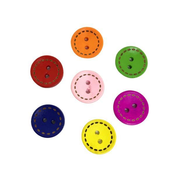 100pcs Boutons En Bois Couleurs Peintes Rond Bricolage Couture L/'artisanat