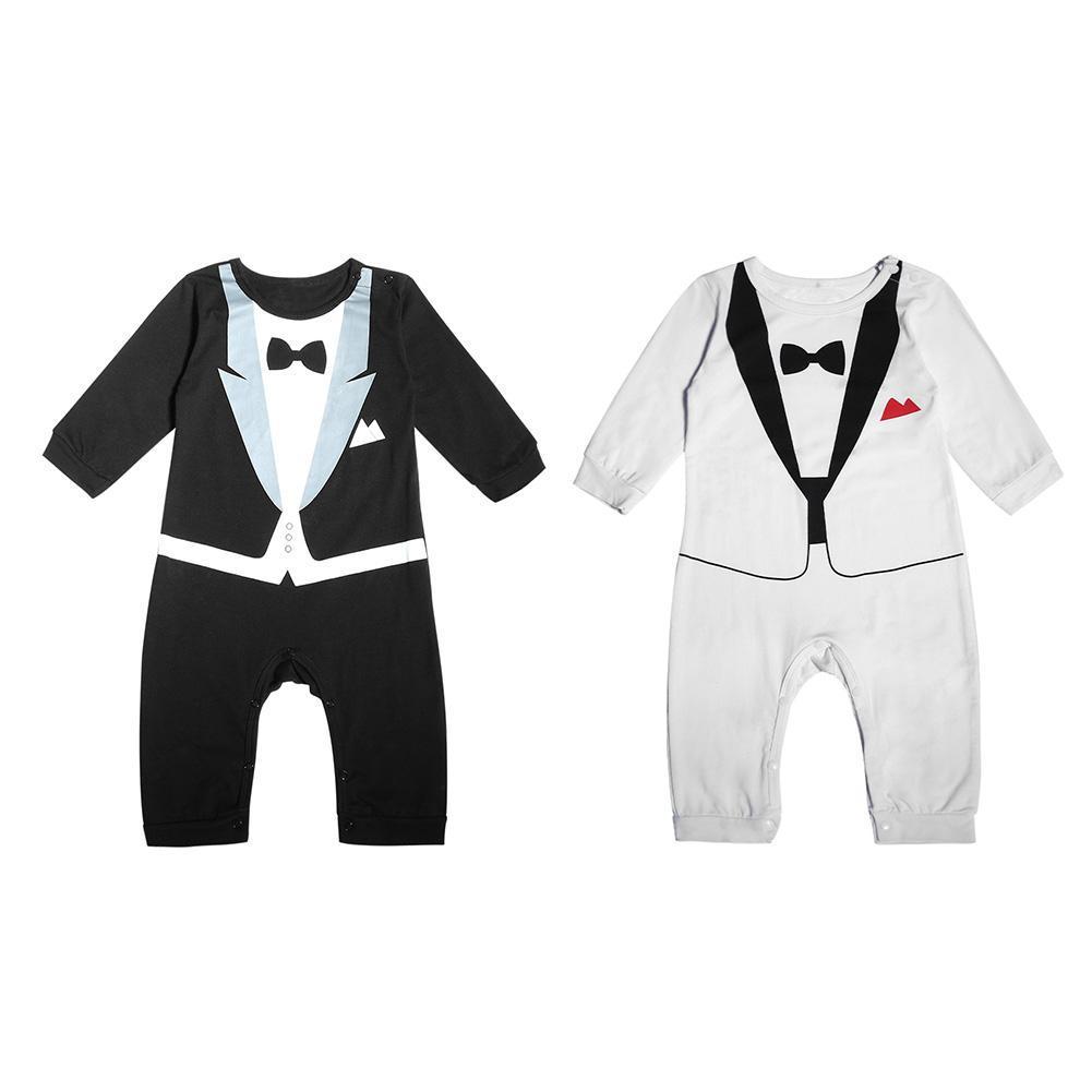 Newborn Baby Boys Gentleman Clothing Bowknot Print Rompers Cute O-Neck Jumpsuit