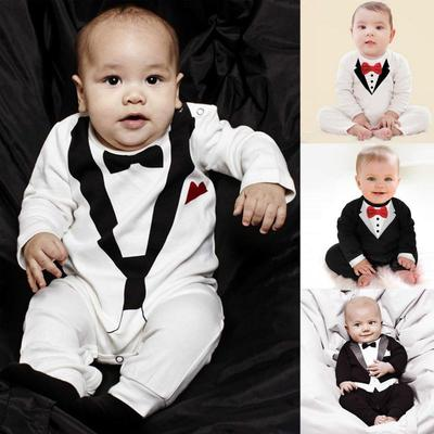 1pc Baby Boy Formal Suit Party Wedding Tuxedo Gentleman Romper Bodysuit Jumpsuit