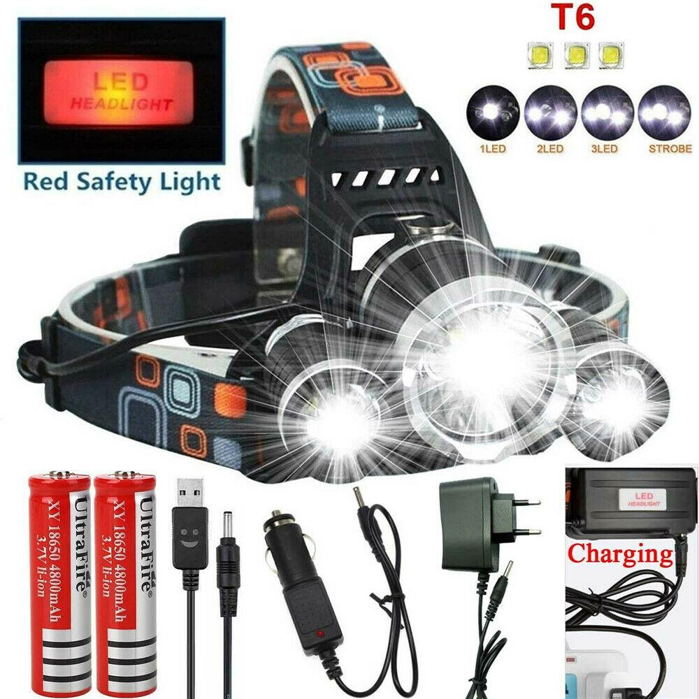 80000LM 2X XM-L T6 Headlamp Headlight Head Light LED Rechargeable USB+2x18650  B