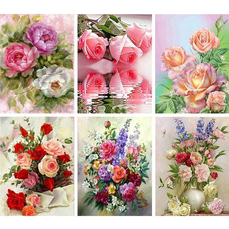 5D DIY Алмазная картина Цветы Полный круглый дрель Розы Мозаика Rhinestone Вышивка Kit фото
