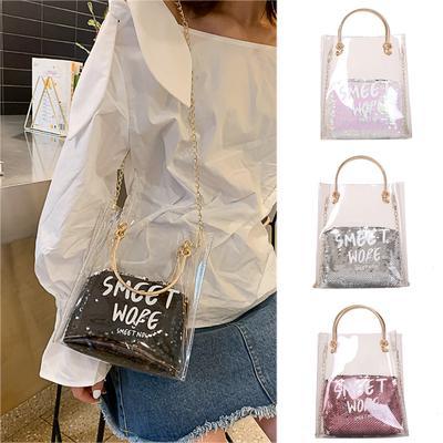 Messenger Bag for School Fashion Womens Transparent Zipper Square Shoulder Bag Messenger Bag Rose Gold One Size