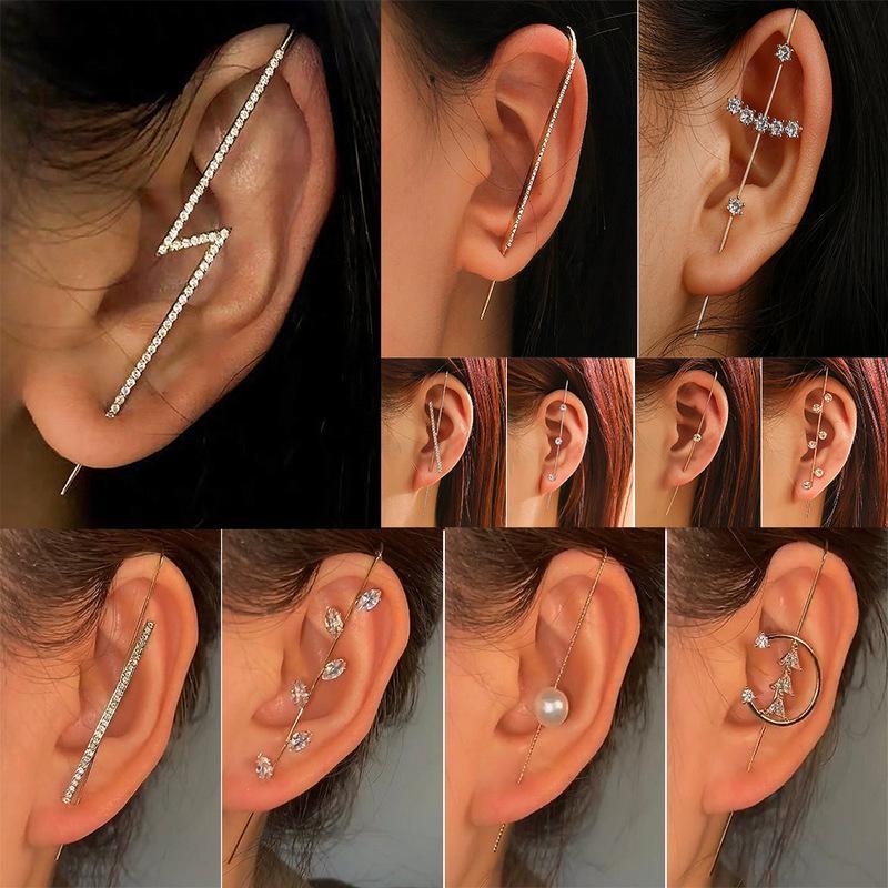 Cartilage Ear Cuff Ear Wrap,Earcuff Earrings 8 Piece Unique Retro C Clip Ear Piercing Bohemian Earrings Set Bohe Earrings Set