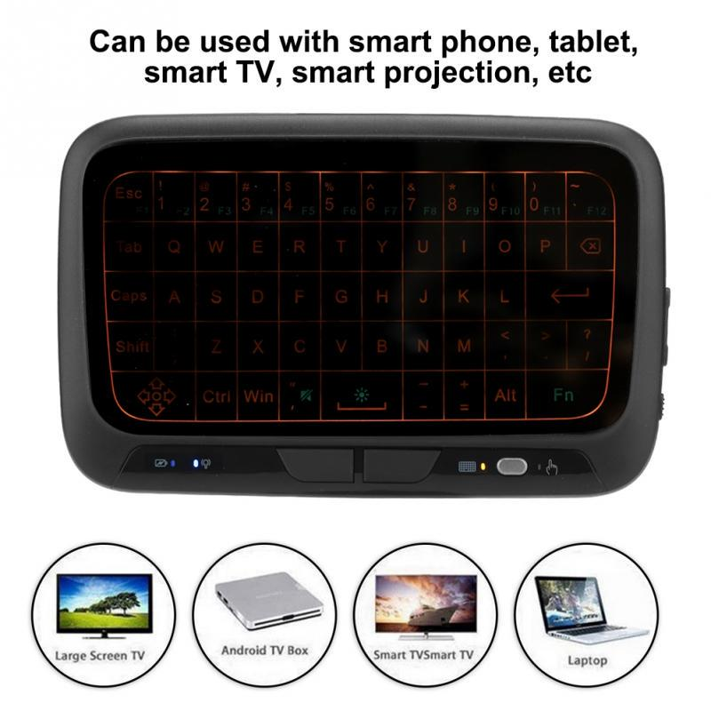 2.4GHz Mini Backlight Rechargeable Ultra Thin Wireless Bluetooth Keyboard Full Touchpad Bluetooth Keyboard,Full touch screen,Low consumption and energy-saving,Three level backlight adjustable,H18