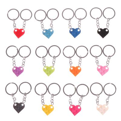 2Pcs Cute Love Heart Brick Keychain For Couples Friendship Birthday Jewelry Gift