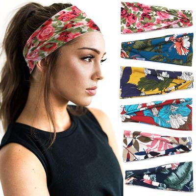 Women Head Wrap Headband Cotton Twist Soft Elastic Yoga Sports Hair Accessories