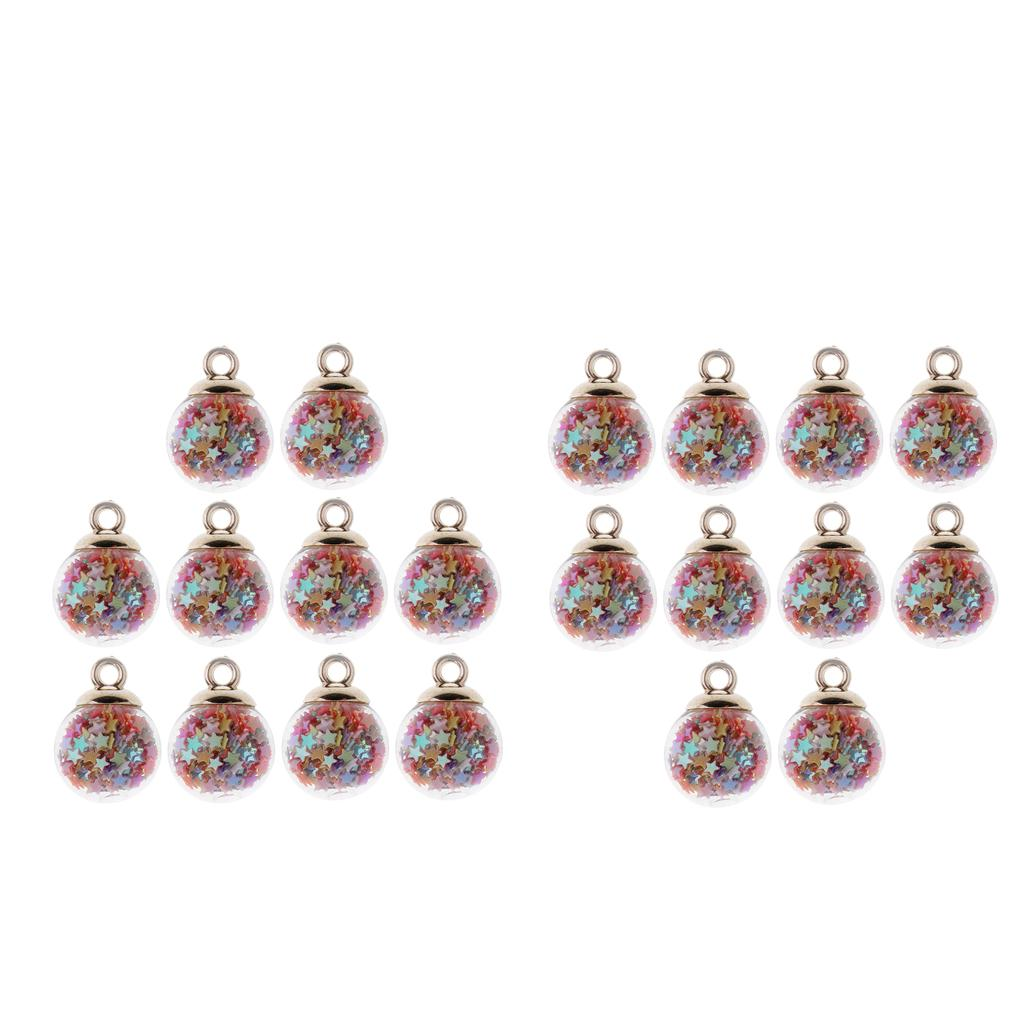 80pcs Crystal Glass Ball Charms w Tiny Stars DIY Jewelry Necklaces Findings