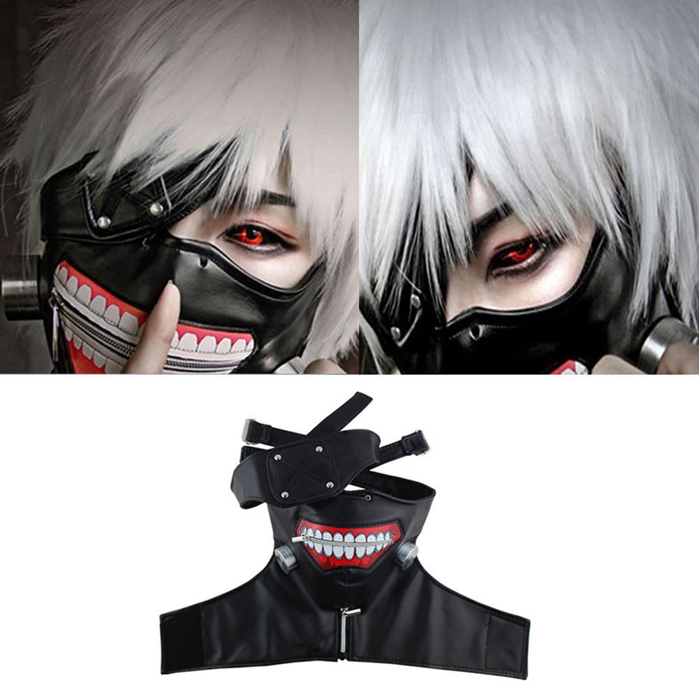 Halloween Tokyo Ghoul Kaneki Ken Cosplay Prop Zipper Mask Wig Party Decoration