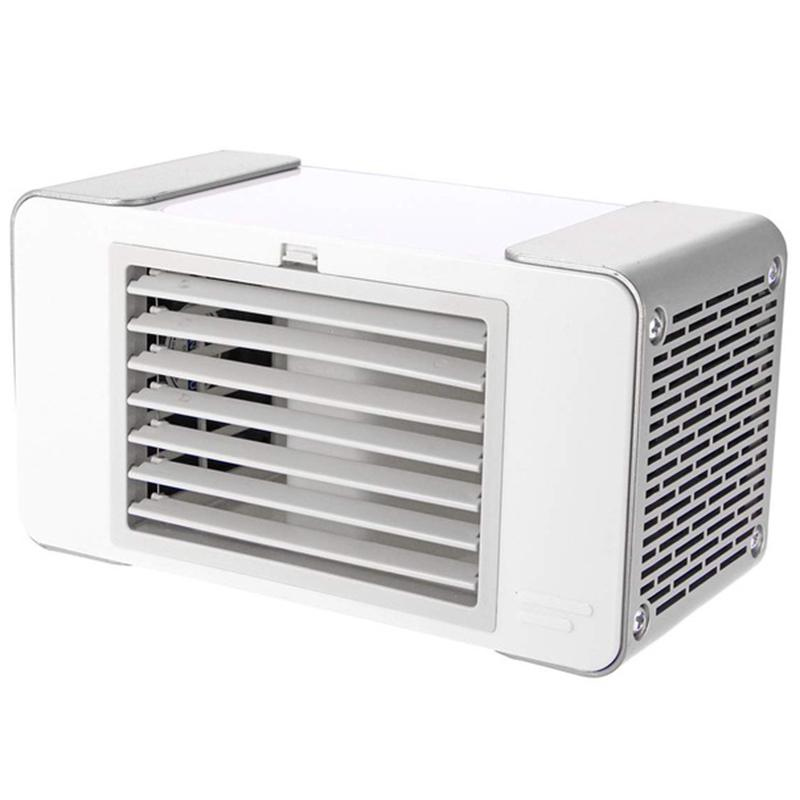 White USB Evaporative Coolers with Waterbox USB Charging Portable LED Table Fan Ultra-Quiet Table Fan for Home Office Bedroom Kids Personal Air Cooler 3 Fan Speed
