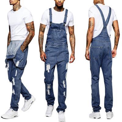 Korean Summer Men Hole Overall Suspender Trousers Jumpsuit Pants Slim Shorts NEW