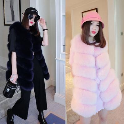 Women Faux Fox Fur Coat Vest Long Jacket Sleveless Outwear Fashion Luxury Splice