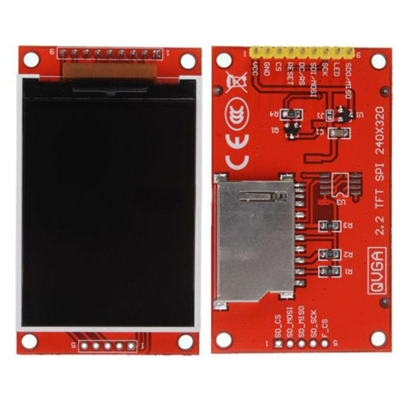 2.2 inch 4-Wire SPI TFT LCD Display Module 240x320 Chip ILI9341 51//AVR//STM32//ARM//PIC-Red-1 Size