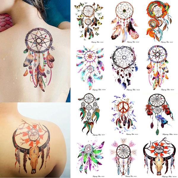 12 Arkusz Zestaw Wodoodporny Dream Catcher Tymczasowy Tatuaż Fałszywy Naklejka Body Arm Art Party Decor Kupić W Niskich Cenach W Sklepie