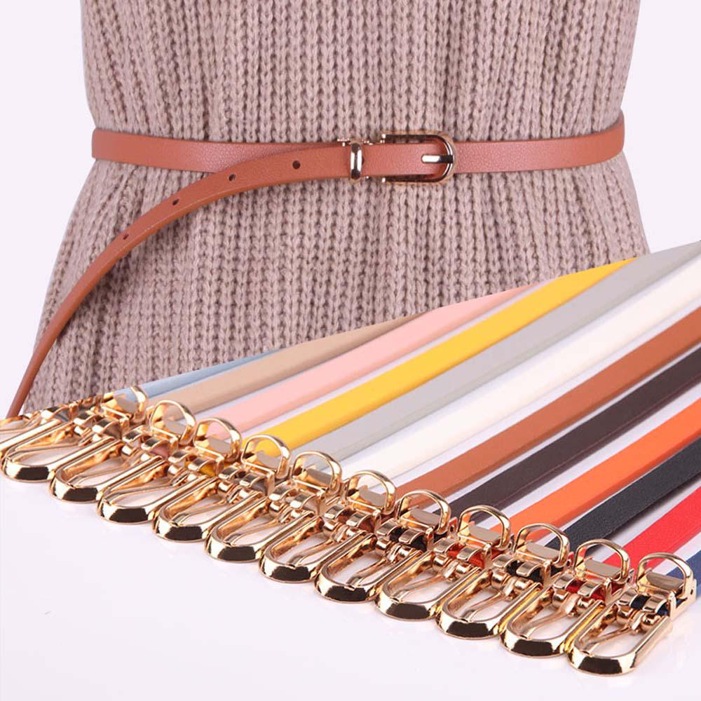 GK Women Fashion Skinny Slim Thin Elastic Belt Fit Waistband Gold Buckle