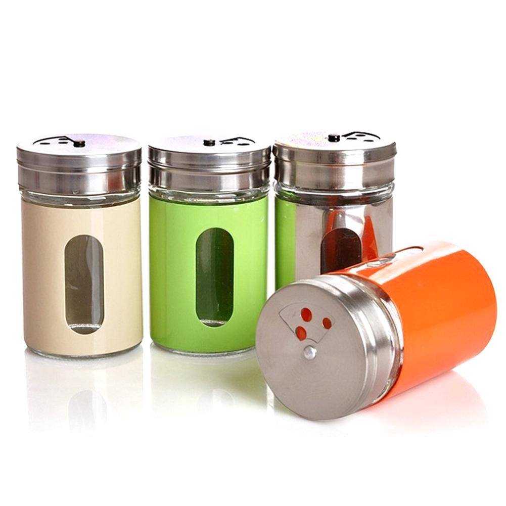 2//4Pcs Plastic Jar Spice Salt Pepper Vinegar Shaker Rotate Cruet Storage Bottle