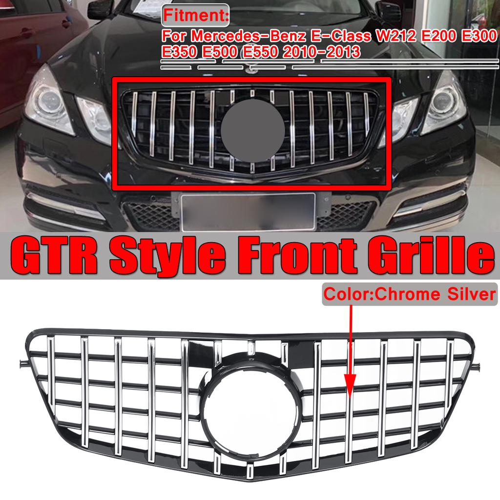 Silver GT R Front Bumper Hood Grille Grill For 2014-2016 Mercedes W212 E200 E350