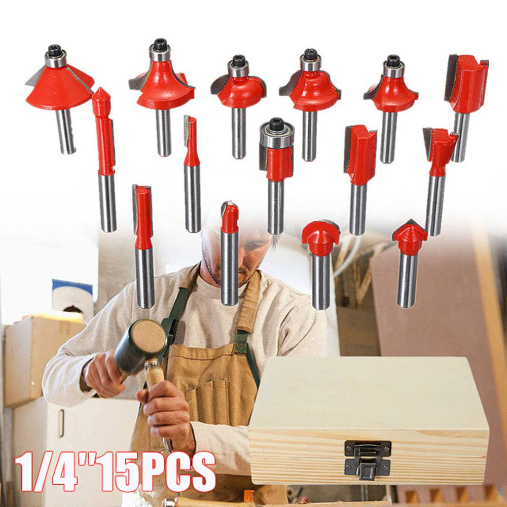 15pcs Milling Cutter Machine Set Router Bits for Wood Cutter Carbide Shank Mill