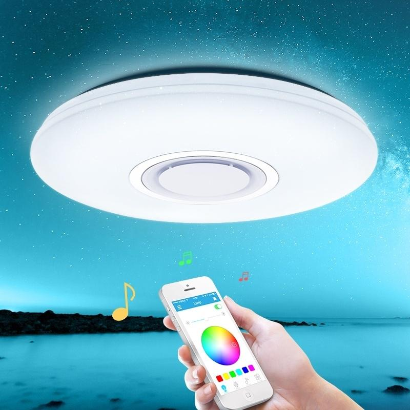 Remote RGB Dimmable Smart Music LED Ceiling Lamp Bathroom Lights Ceiling LED Waterproof 68W with Speaker Wi-Fi App Control /∅ 50cm