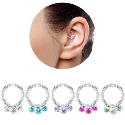 1Pc Steel Segment Rings Nose Ear Septum Hoop Ear Cartilage Piercings Lip Tongue Ring Piercing,Segment 1.2X6Mm,Black