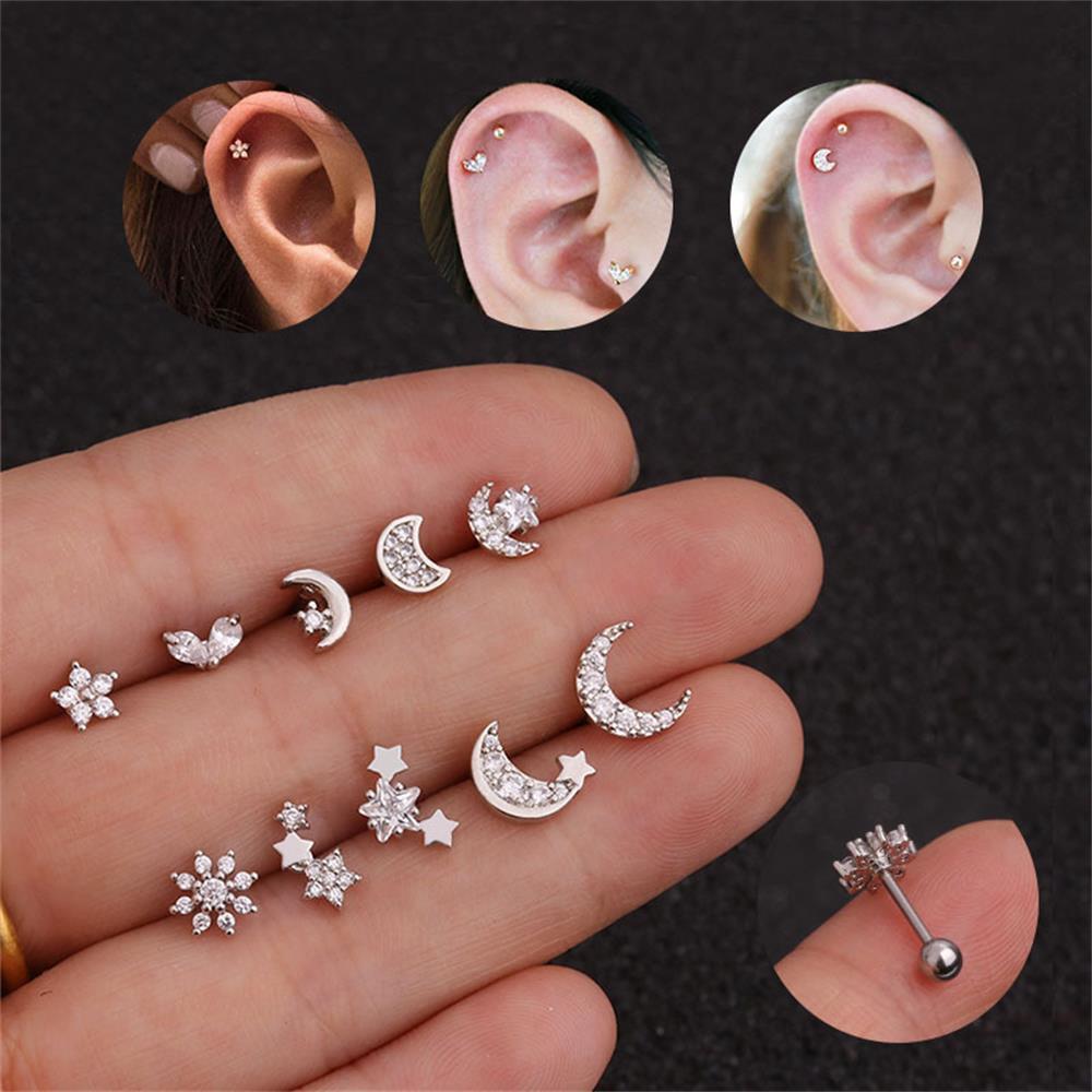 Women Body Piercing Jewelry Surgical Steel Tragus Earring Rhinestone Ear Studs