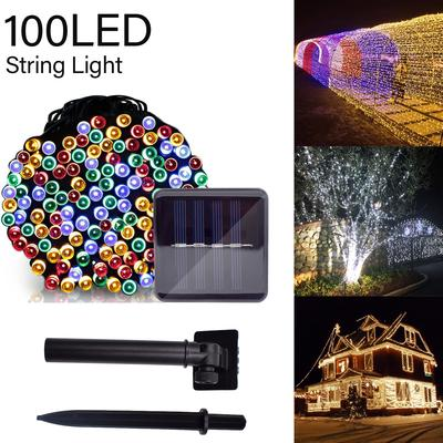 Solar 100 LED 12M String Lights Garden Path Yard Decor Lamp Outdoor Waterproof