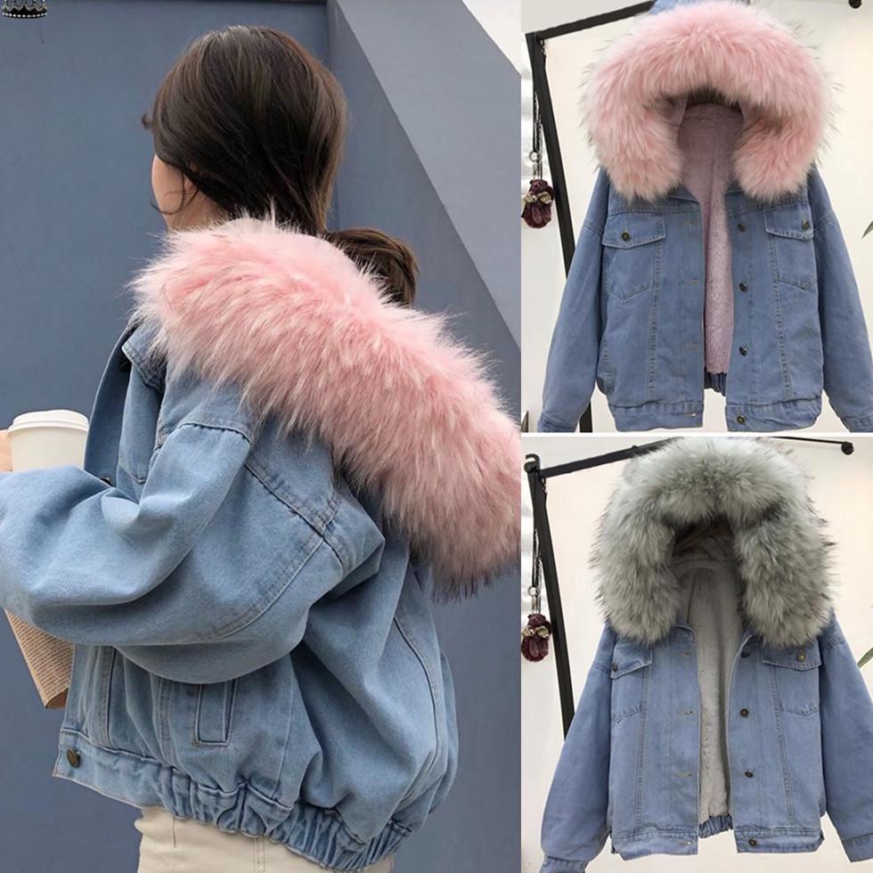 Модные женские зимние теплые короткие джинсовые пальто с воротником, куртка, тонкая верхняя одежда с капюшоном, пальто – купить по низким ценам в интернет-магазине Joom