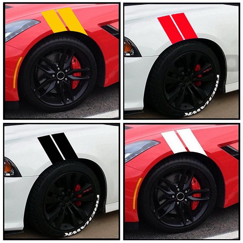 Black Auto Truck Fender Hash Stripe Racing Graphic Car Decal Sticker Accessories