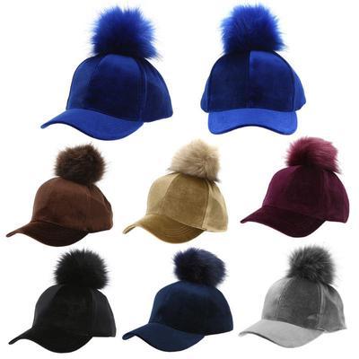 sale retailer 73558 146dc Унисекс Pom Pom мяч бархата регулируемые бейсбол Cap хип-хоп шляпа (синий)