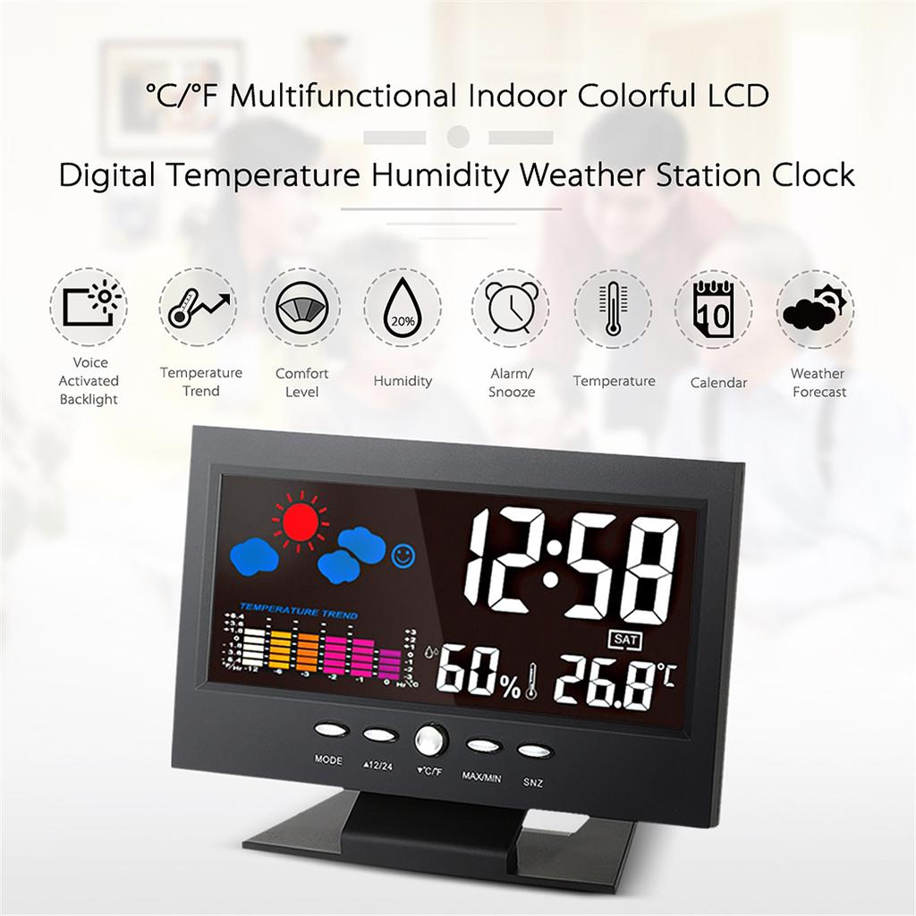 LED Screen Projection Clock Weather Forecast Clock Thermo-hygrometer Clock