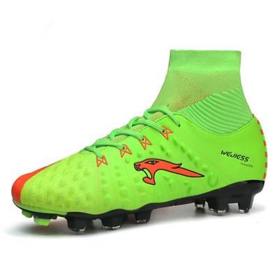 Cuero alta hombres fútbol botas Spike mucho al aire libre zapatos tacos de  Futbol verde negro ded8de67f52ac