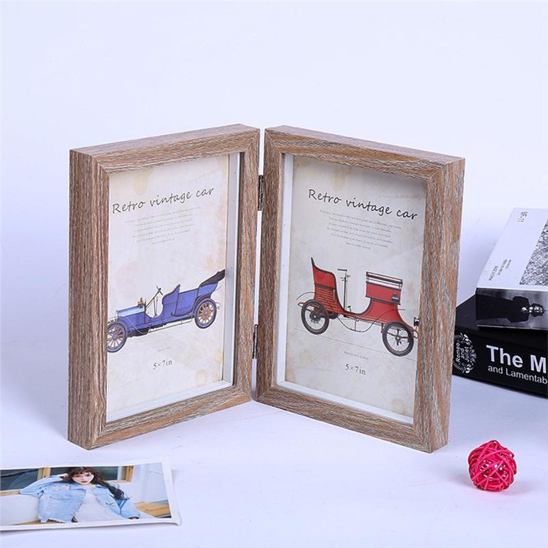 5 x 7 pulgadas Simple marco rectangular doble foto marco de madera ...