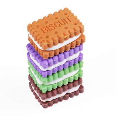 4Pcs Cute Novelty Stationery Colorful Biscuit Eraser Student Teaching Office Stationery