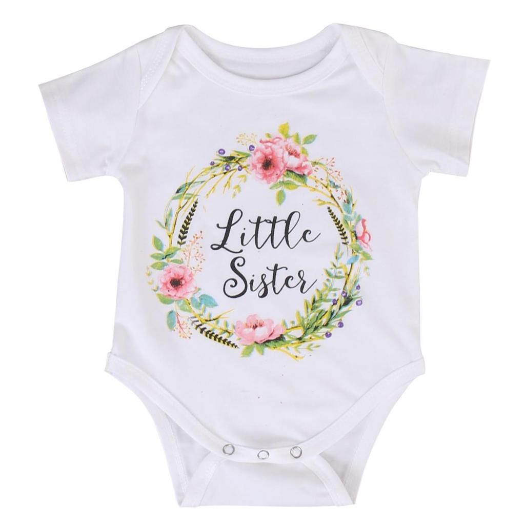 a32fbe60c Bebé niño niña pequeña hermana algodón ropa mono mameluco trajes T ...