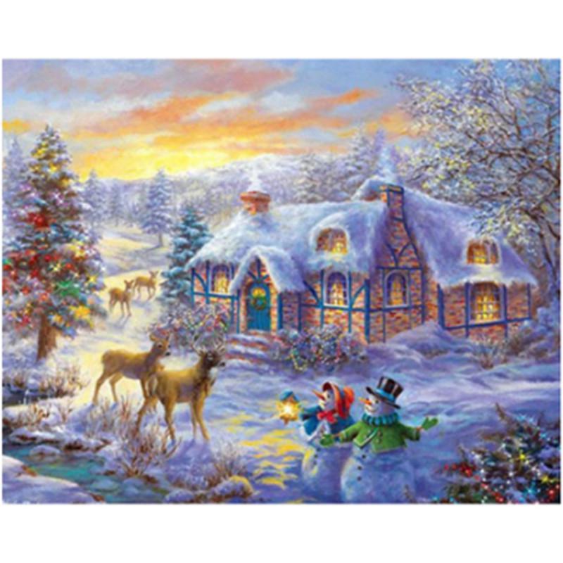 Mosaic Home Decor Diamond Painting  Kit 50cm X 40cm 5D DIY Full Round Drill Christmas Village