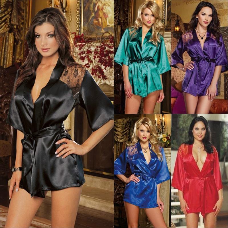 Женский сексуальный, шелковый халатик. Цвет в ассортименте – купить по низким ценам в интернет-магазине Joom