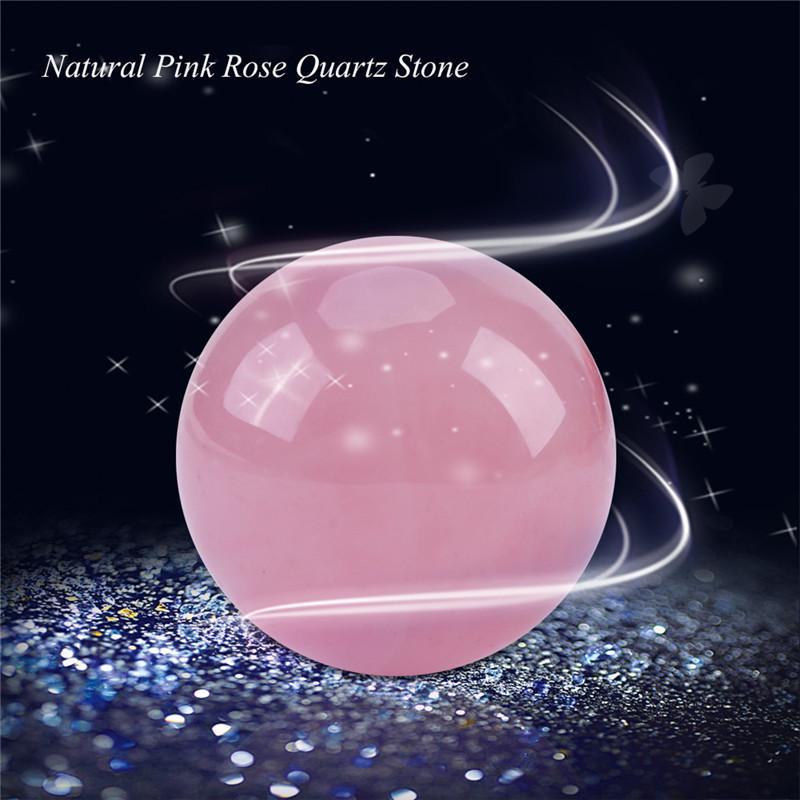 banshren Natural Carved 35mm Pink Rose Quartz Sphere Ball Healing Crystals