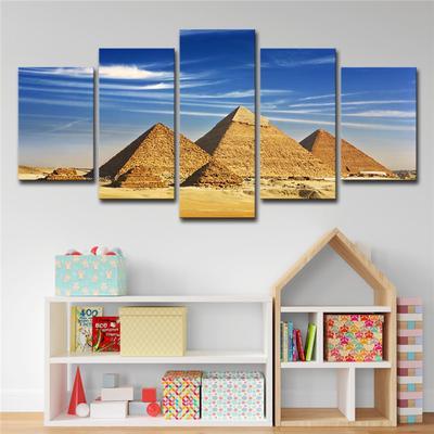 5 Panel Piramitler Misir Resmi Modern Soyut Resim Boyama Oturma