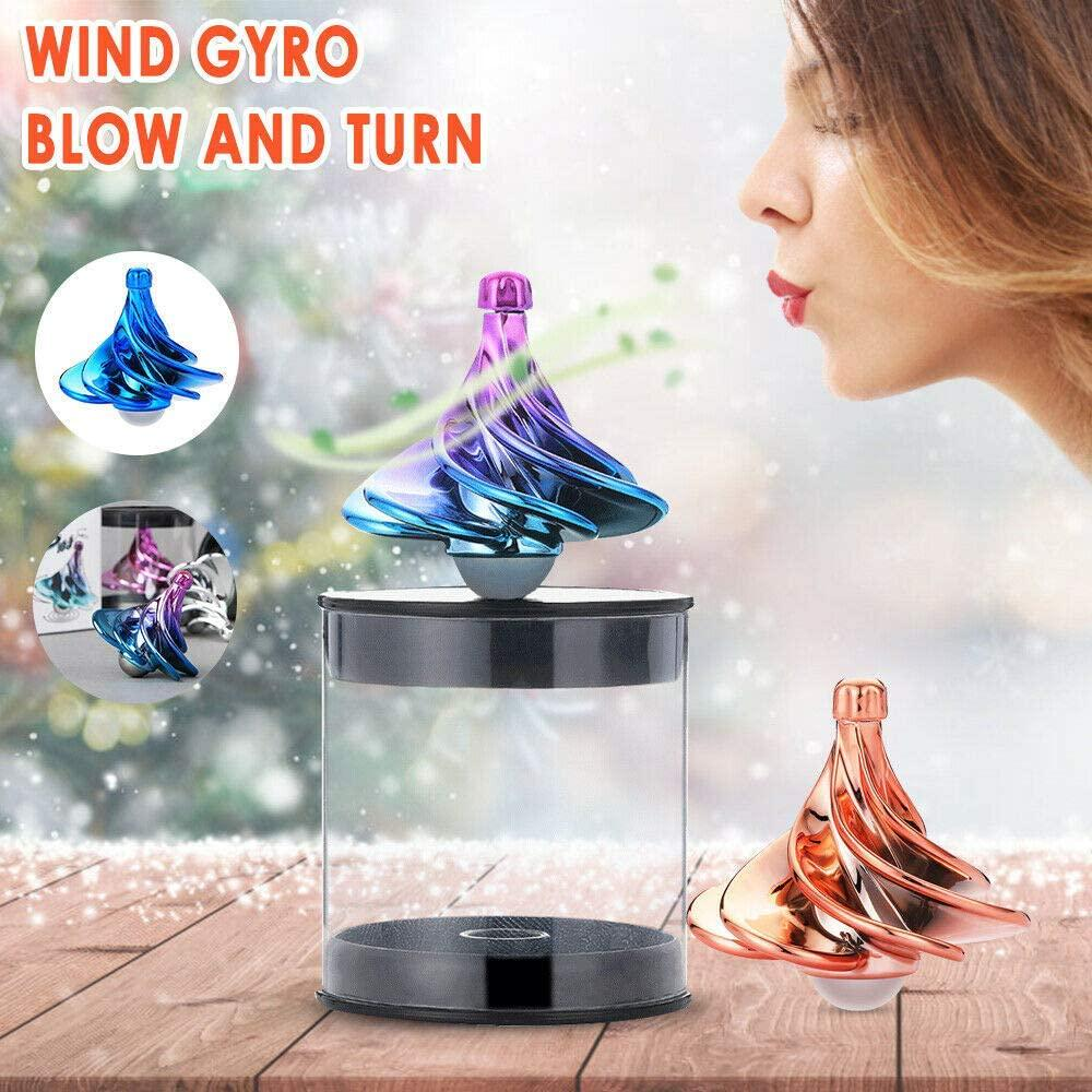 2PCS Spinning Top Toys,Wind Gyro Childrens Educational Toys Adult Decompression Tool Airflow Spinning Gyro Desktop Gyro,Home and Office Decorations Royal Blue + Double Color Gradient Color