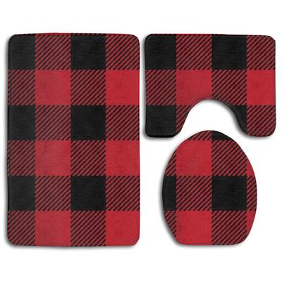 Custom Rustic Red Black Buffalo Check Plaid 3 Piece Bathroom Rugs Set Bath Rug Contour Mat And Toilet Lid Cover Buy At A Low Prices On Joom E Commerce Platform
