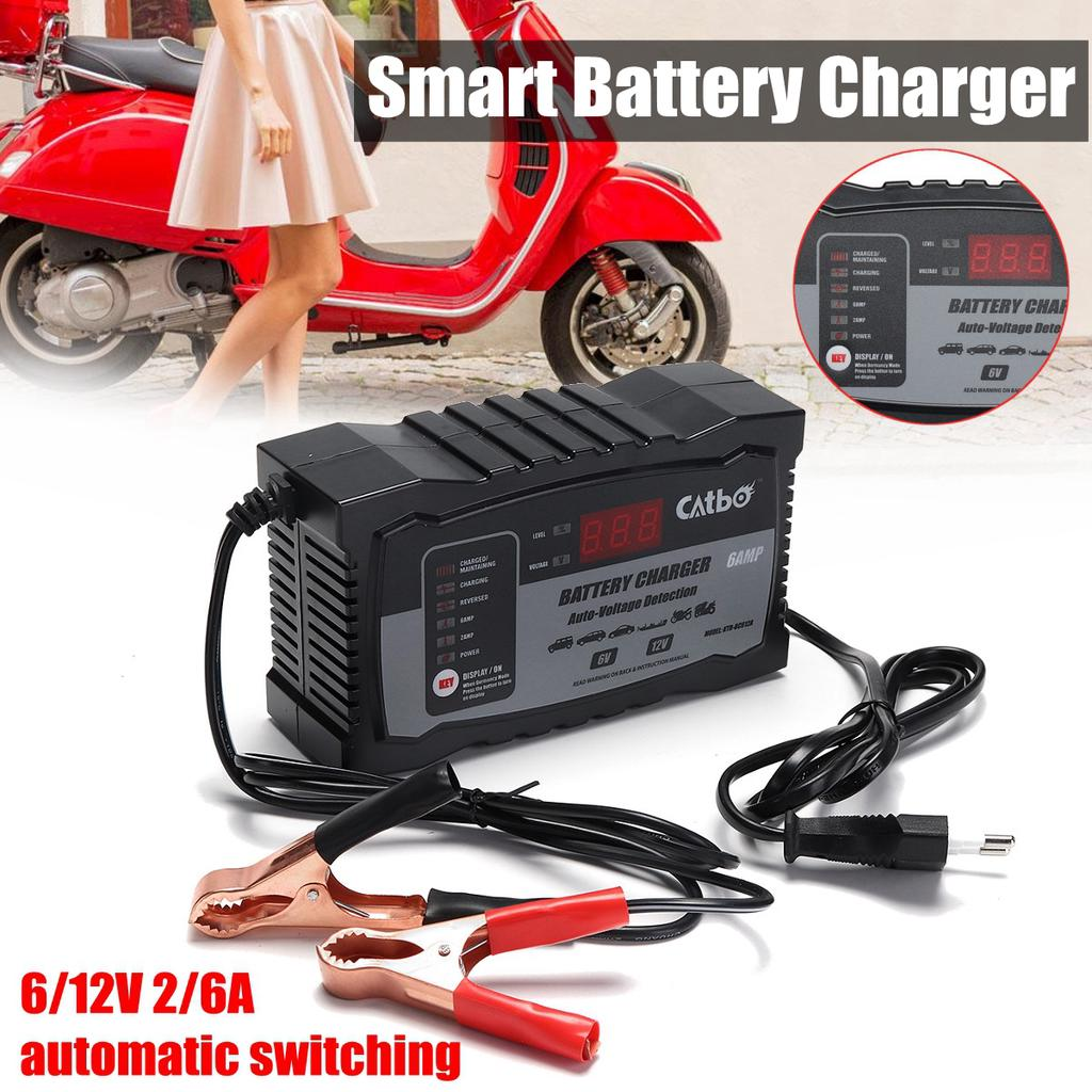 Smart Car Motorcycle Battery Charger 612V 26A Automatic Switching Digital Display