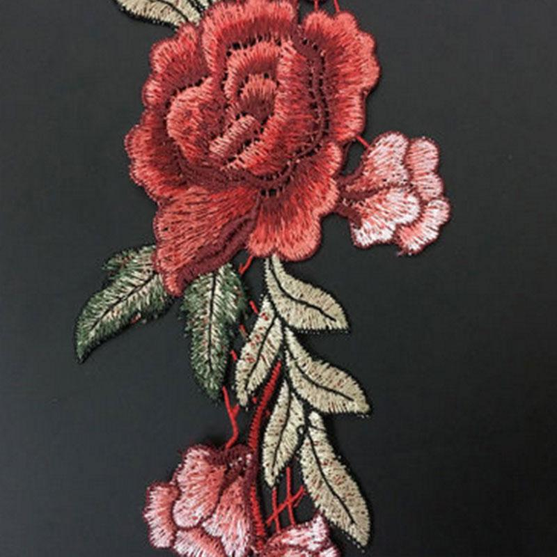2x RED FLOWER BLOSSOM TRIM Embroidered Iron Sew On Cloth Patch Badge APPLIQUE