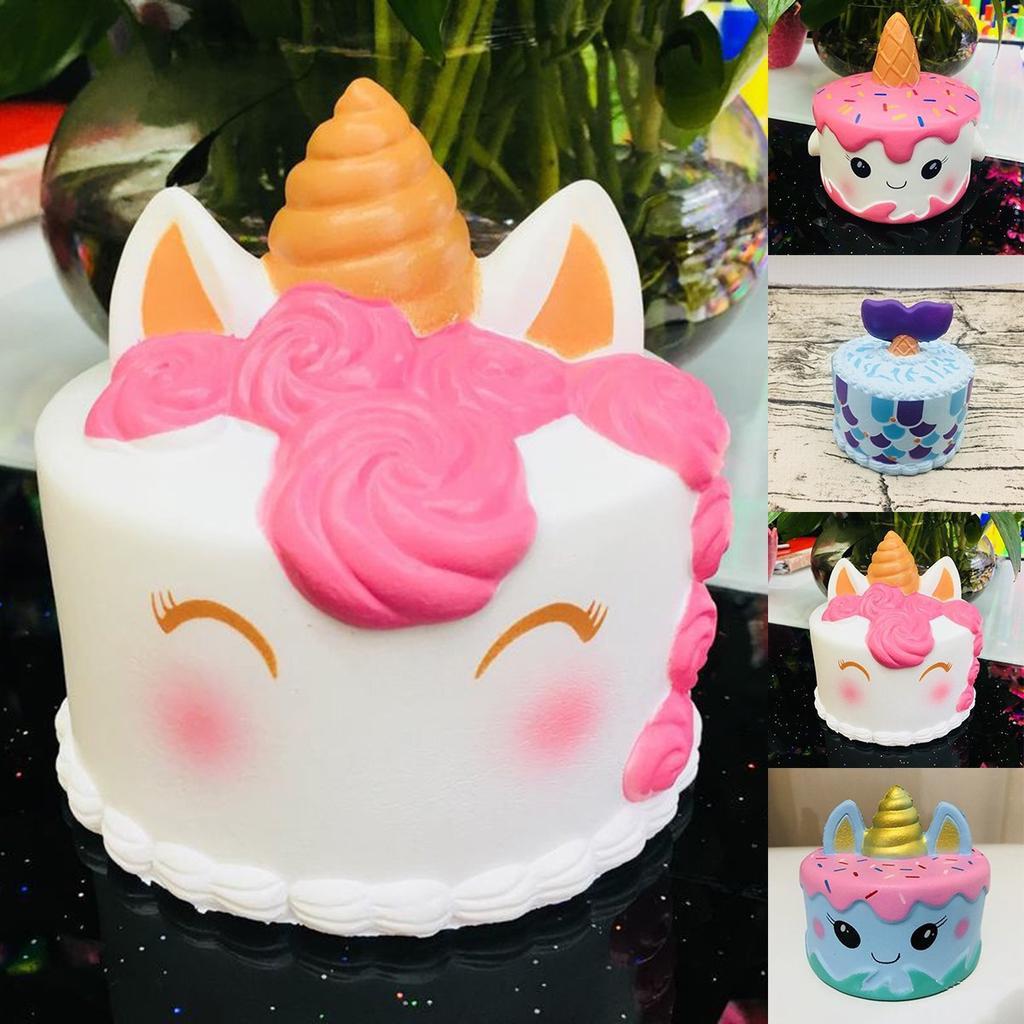 533307626 Juguete de compresión lindo jumbo squishy sirena unicornio pastel crema de  crecimiento lento regalo para niños