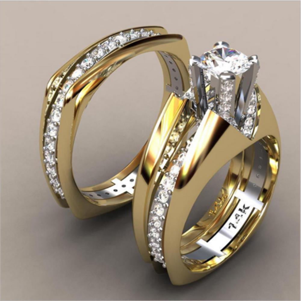 It is a graphic of Ring Fashion Couple Ring Crown Zircon Ring Female Ring Wedding Engagement Ring Ring