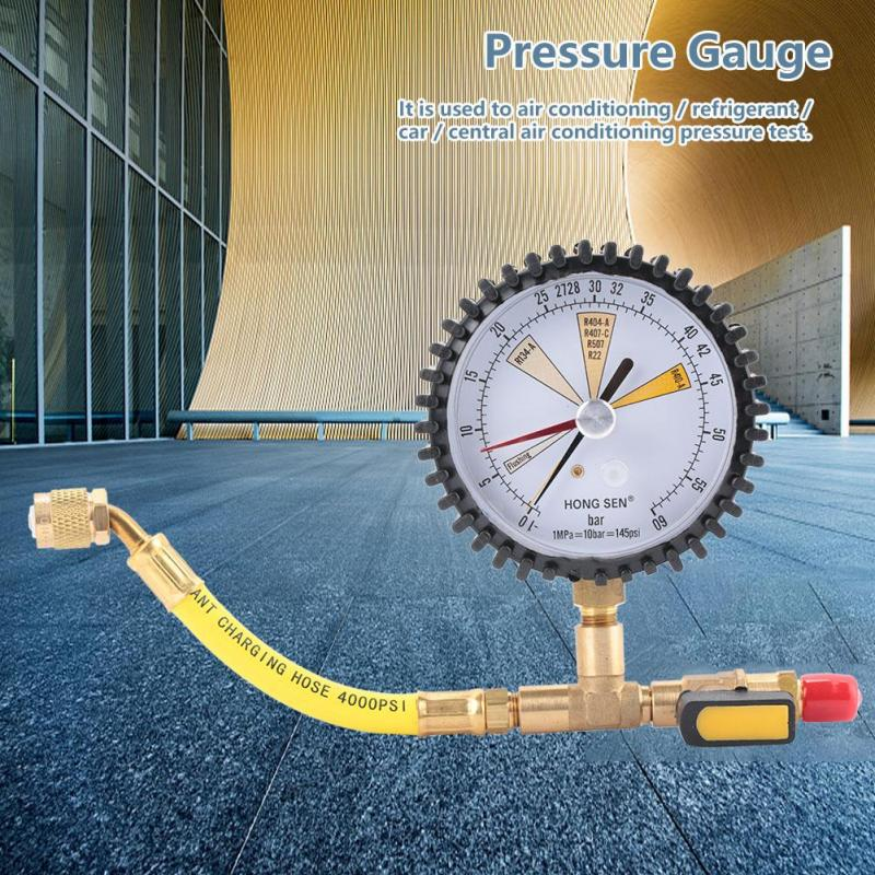 R22 Nitrogen Pressure Gauge,Air Conditioning Pressure Table,Replaceable Regular Head,for R134A R407C R410A