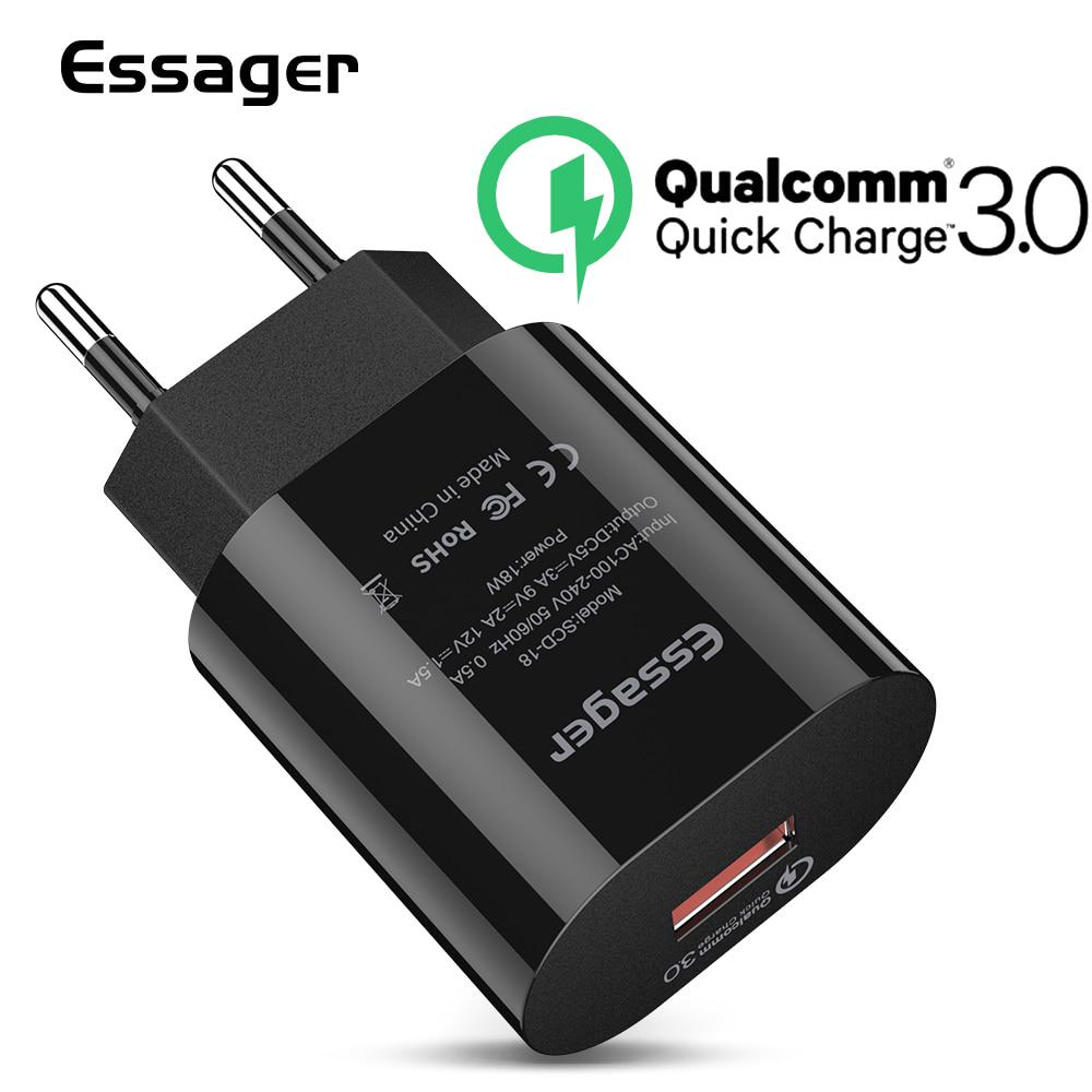 Essager Быстрая зарядка 3.0 USB Зарядное устройство QC3.0 КК Быстрая зарядка ЕС Plug Адаптер Подключатель Мобильный телефон зарядное устройство для iPhone Samsung Xiaomi фото