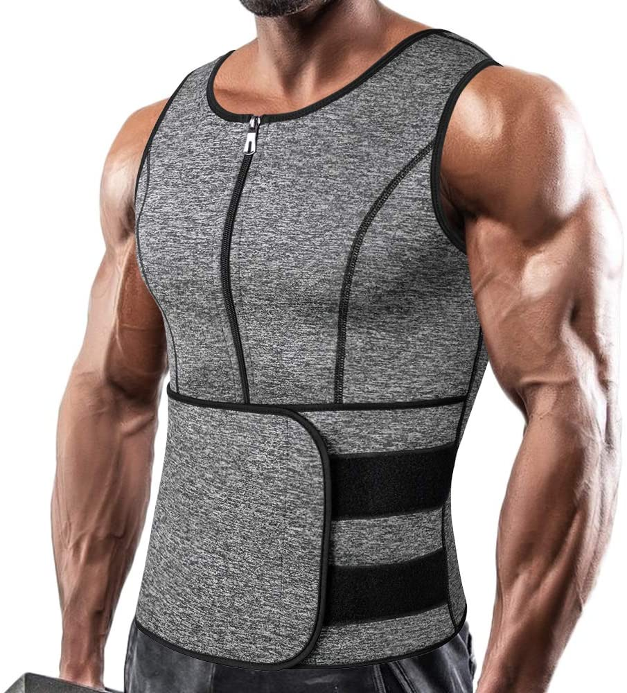 MEN Ajustable Sauna Thermo Sweat Body Shaper Waist Trainer Gym Slim Corset Vest