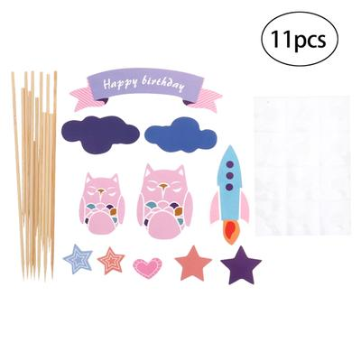 Awesome 11Pcs Cake Toppers Mixed Paper Owl Shaped Cupcake Toppers Cake Personalised Birthday Cards Sponlily Jamesorg