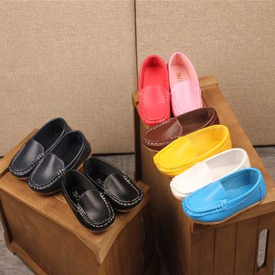 2e140598870bc7 Children Kid Boys Girls Solid Leather Sport Lazy Sneaker Casual Boat Shoes