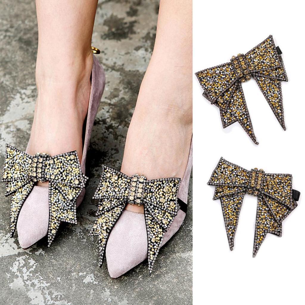 2PCS Shoe Buckle Clip Shoe Accessories Glass Shoe Buckle for High Heels Leather Shoes Sandals Black//White
